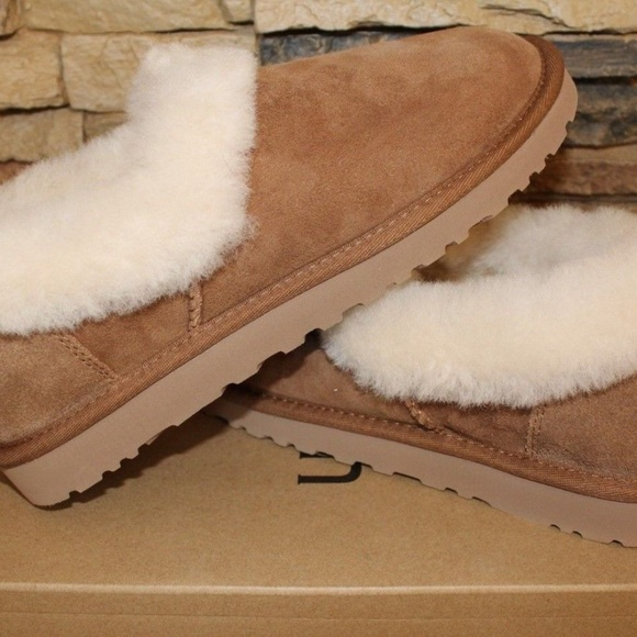 ee9c78e96dce UGG NITA Suede Shearling Slip On Slippers CHESTNUT